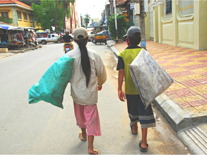 Two of Cambodia's ait chai (trash) collectors. Photo: Supplied.